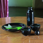 Ceramic sake set, 'Dark Leaves'