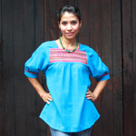Cotton blouse, 'Tropical Azure'