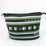 Cotton cosmetic handbag, 'Bamboo Forest'