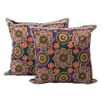 Cotton cushion covers, 'Chiang Mai Flowers' (pair)