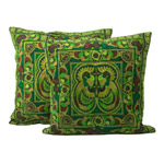 Ethnic cotton cushion covers, 'Green Spirit' (pair)