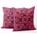 Ethnic cotton cushion covers, 'Chiang Rai Flowers' (pair)