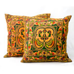 Ethnic cotton cushion covers, 'Copper Spirit' (pair)