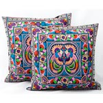 Ethnic cotton cushion covers, 'Thai Spirit' (pair)