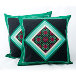 Hmong cotton cushion covers, 'Green Dream' (pair)