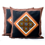 Hmong cotton cushion covers, 'Brown Dream' (pair)