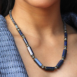 Lapis lazuli and pyrite necklace, 'Protective Power'
