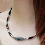 Black agate and hematite necklace, 'Emotional Balance'