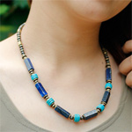Lapis lazuli and turquoise necklace, 'Third Eye'