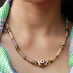 Unakite and DZI Tibet necklace, 'Unconditional Love'