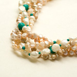 Pearl and turquoise necklace, 'Bold Elegance'