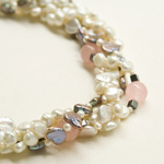 Pearl, rose quartz and hematite necklace, 'Legendary Romance'