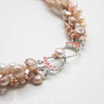 Pearl and sterling silver necklace, 'Pure Love'