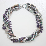 Fluorite, amethyst and turquoise necklace, 'Purple Fantasy'