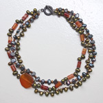 Carnelian and pearl necklace, 'Bohemian Charm'
