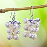 Pearl and silver cluster earrings, 'Luminous Cascade'