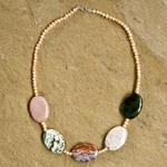 Jasper and pearl necklace, 'Earth and Sea'