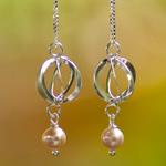 Pearl and silver dangle earrings, 'Revolution'