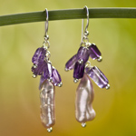 Amethyst and pearls earrings, 'Serendipity'