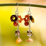 Tiger eyes and carnelian earrings, 'Volcanoes'