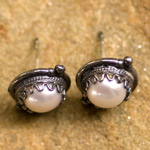 Pearl and silver dangle earrings, 'Antiquity'