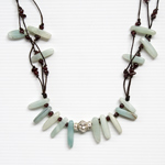 Agate and garnet necklace, 'Verdant Passion'