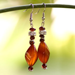Carnelian dangle earrings, 'Twist of Energy'