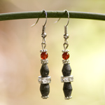 Carnelian and jade earrings, 'Temple Pillars'