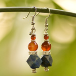 Carnelian and lapis lazuli earrings, 'Thai Traditions'
