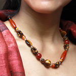 Carnelian and tiger eye necklace, 'Solar Eruption'