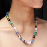Mixed gemstones necklace, 'Fireworks'