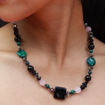 Black agate and chrysocolla necklace, 'Thai Hawk'