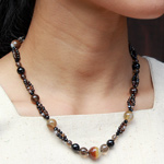 Onyx, quartz and jasper necklace, 'Earth Forever'