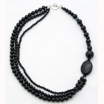 Black agate necklace, 'Stylish Shadow'