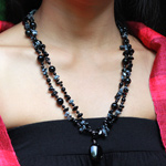 Black agate and snowflake necklace, 'Night Goddess'