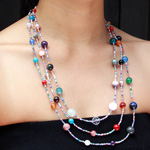 Mixed gemstones necklace, 'Universal Colors'