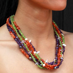 Mixed gemstones necklace, 'Secondary Colors'