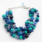 Turquoise, lapis lazuli and agate bracelet, 'Blue Bouquet'