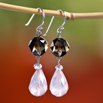 Rose and smoky quartz earrings, 'Precious Love'
