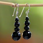 Black agate earrings, 'Stylish Shadow'