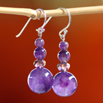 Amethyst earrings, 'Lilac Song'