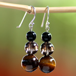 Tiger eye, quartz and agate earrings, 'Siam Mystery'
