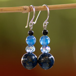 Lapis lazuli and agate earrings, 'Soothing Blue'