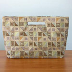 Cotton handbag, 'Ginger Cubism' (long)
