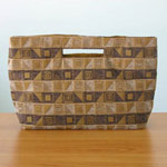 Cotton handbag, 'Cocoa Cubism' (long)