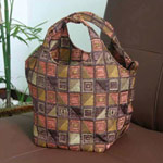 Cotton handbag, 'Chocolate Cubism' (Circle)