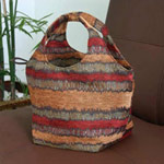 Cotton handbag, 'Dazzling Energy' (Circle)