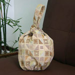 Cotton handbag, 'Ginger Cubism' (loop)