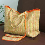 Cotton handbag and purse, 'Solar Rains'