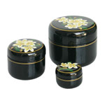 Lacquered box, 'Frangipani' (set of 3)